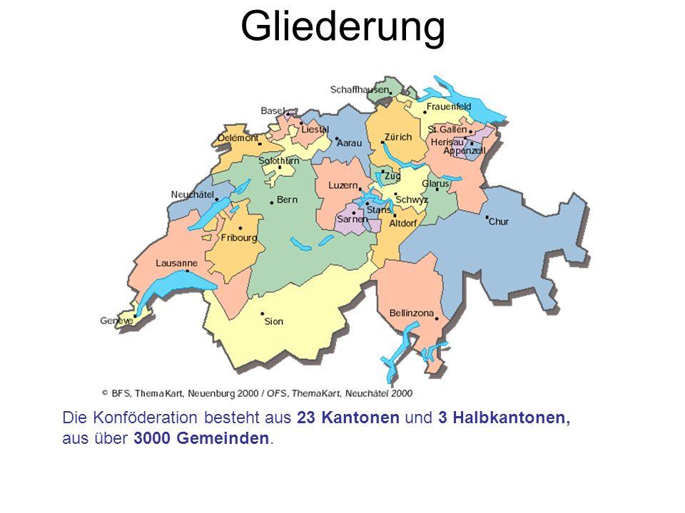 Gliederung Die Konföderation besteht aus 23 Kantonen und 3 Halbkantonen, aus über 3000 Gemeinden.
