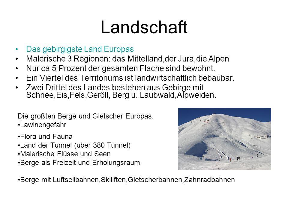 Landschaft Das gebirgigste Land Europas Malerische 3 Regionen: das Mittelland,der Jura,die Alpen Nur ca 5 Prozent der gesamten Fläche sind bewohnt. Ei