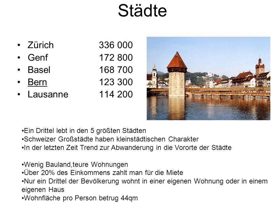 Städte Zürich 336 000 Genf 172 800 Basel 168 700 Bern 123 300 Lausanne 114 200 Ein Drittel lebt in den 5 größten Städten Schweizer Großstädte haben kl
