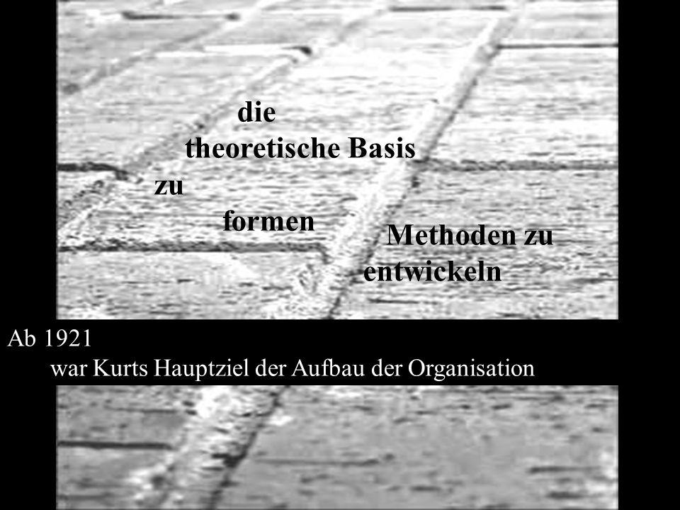 Methoden zu entwickeln die theoretische Basis zu formen Ab 1921 war Kurts Hauptziel der Aufbau der Organisation