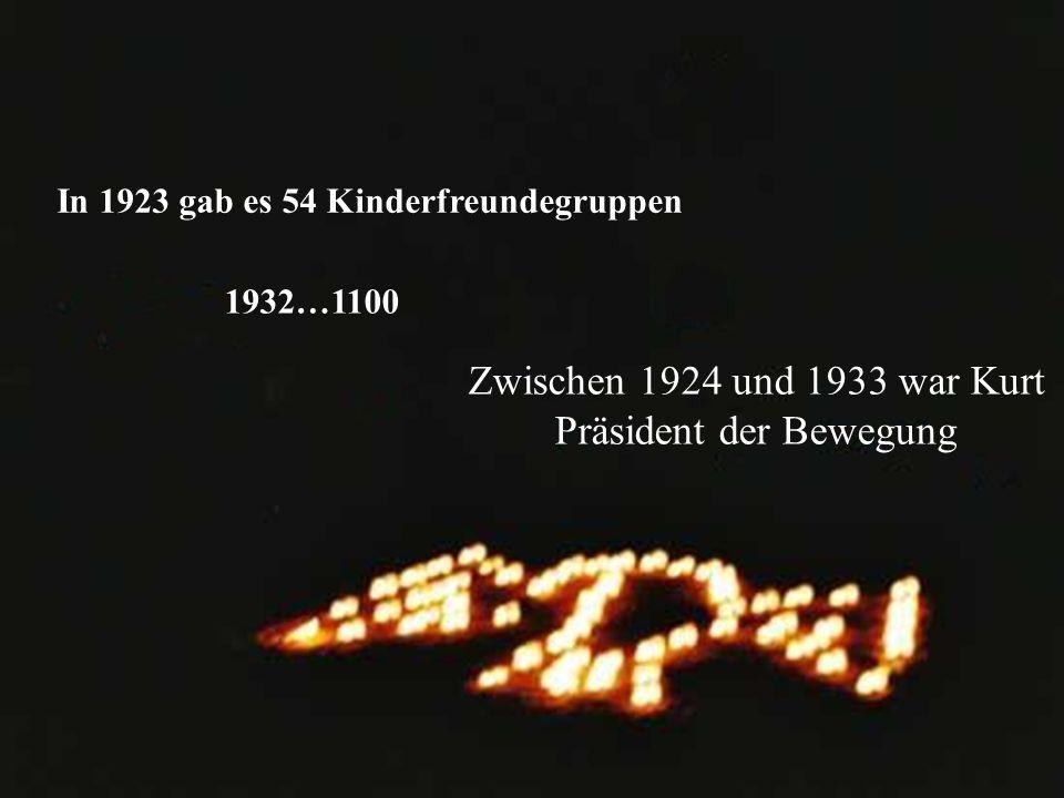 In 1923 gab es 54 Kinderfreundegruppen 1932…1100 Zwischen 1924 und 1933 war Kurt Präsident der Bewegung
