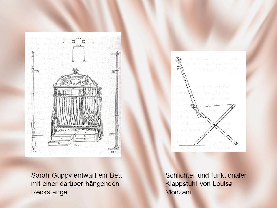 Sarah Guppy entwarf ein Bett mit einer darüber hängenden Reckstange Schlichter und funktionaler Klappstuhl von Louisa Monzani