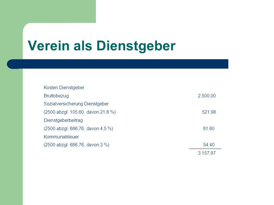Verein als Dienstgeber Kosten Dienstgeber Bruttobezug 2.500,00 Sozialversicherung Dienstgeber (2500 abzgl.