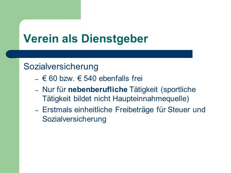 Verein als Dienstgeber Sozialversicherung – 60 bzw.