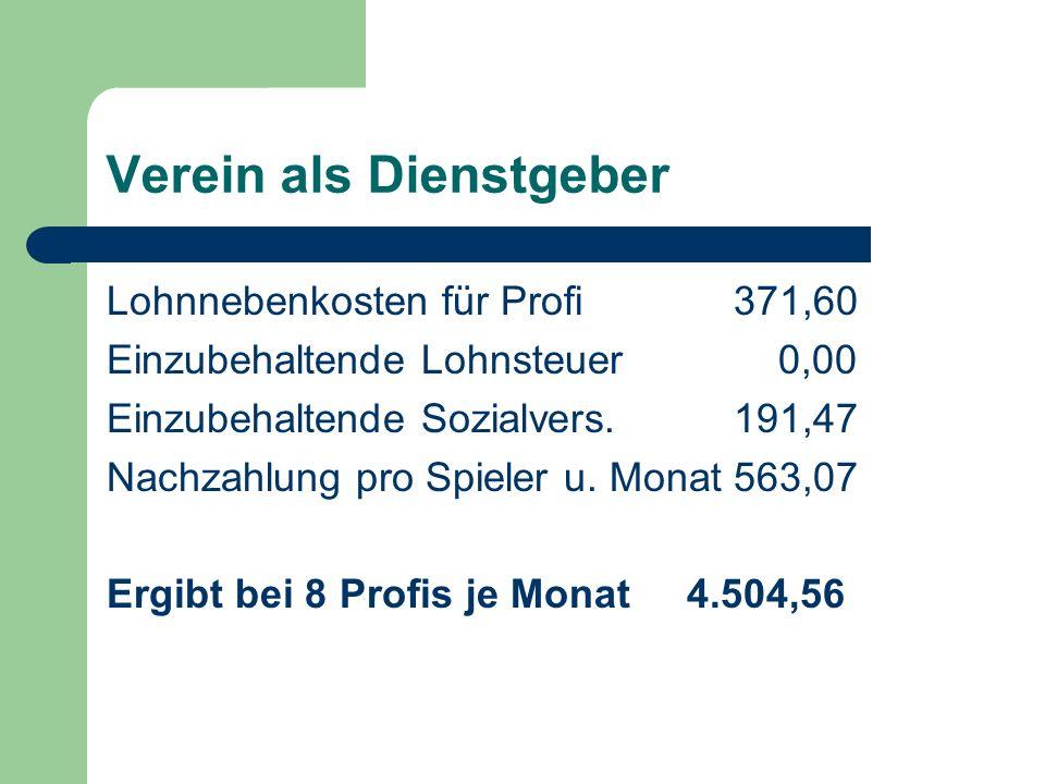 Verein als Dienstgeber Lohnnebenkosten für Profi371,60 Einzubehaltende Lohnsteuer 0,00 Einzubehaltende Sozialvers.191,47 Nachzahlung pro Spieler u.