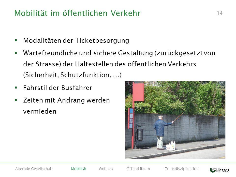14 Mobilität im öffentlichen Verkehr Modalitäten der Ticketbesorgung Wartefreundliche und sichere Gestaltung (zurückgesetzt von der Strasse) der Halte