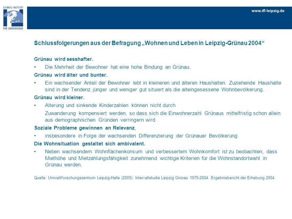 Schlussfolgerungen aus der Befragung Wohnen und Leben in Leipzig-Grünau 2004 Grünau wird sesshafter. Die Mehrheit der Bewohner hat eine hohe Bindung a