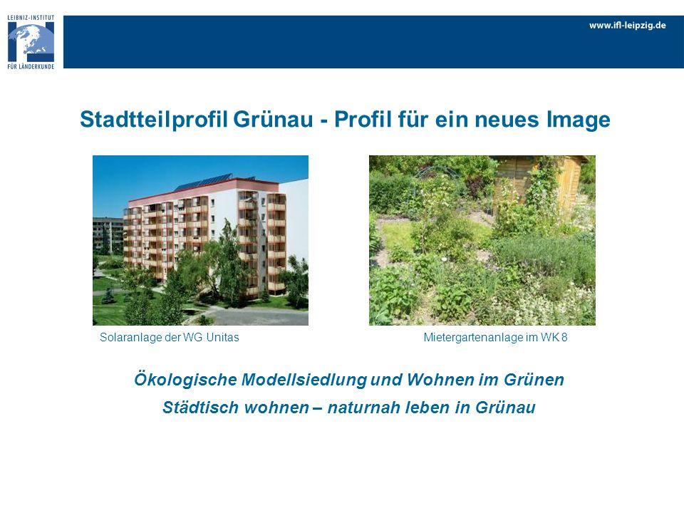Ökologische Modellsiedlung und Wohnen im Grünen Städtisch wohnen – naturnah leben in Grünau Solaranlage der WG Unitas Mietergartenanlage im WK 8 Stadt
