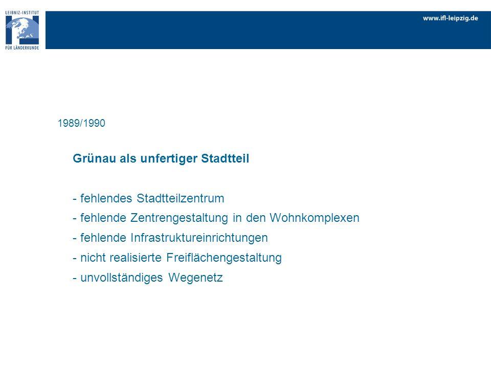 1989/1990 Grünau als unfertiger Stadtteil - fehlendes Stadtteilzentrum - fehlende Zentrengestaltung in den Wohnkomplexen - fehlende Infrastruktureinri