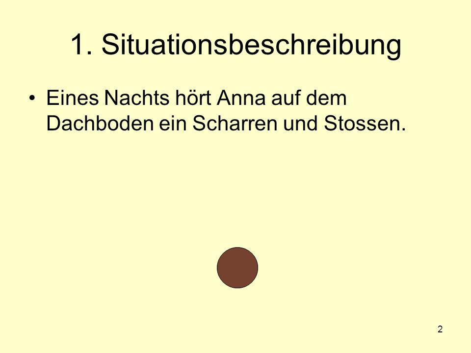 2 1. Situationsbeschreibung Eines Nachts hört Anna auf dem Dachboden ein Scharren und Stossen.