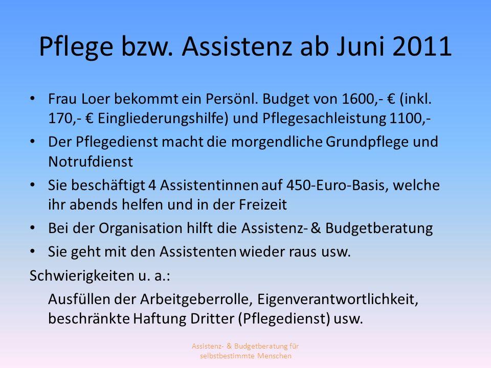 Pflege bzw. Assistenz ab Juni 2011 Frau Loer bekommt ein Persönl. Budget von 1600,- (inkl. 170,- Eingliederungshilfe) und Pflegesachleistung 1100,- De