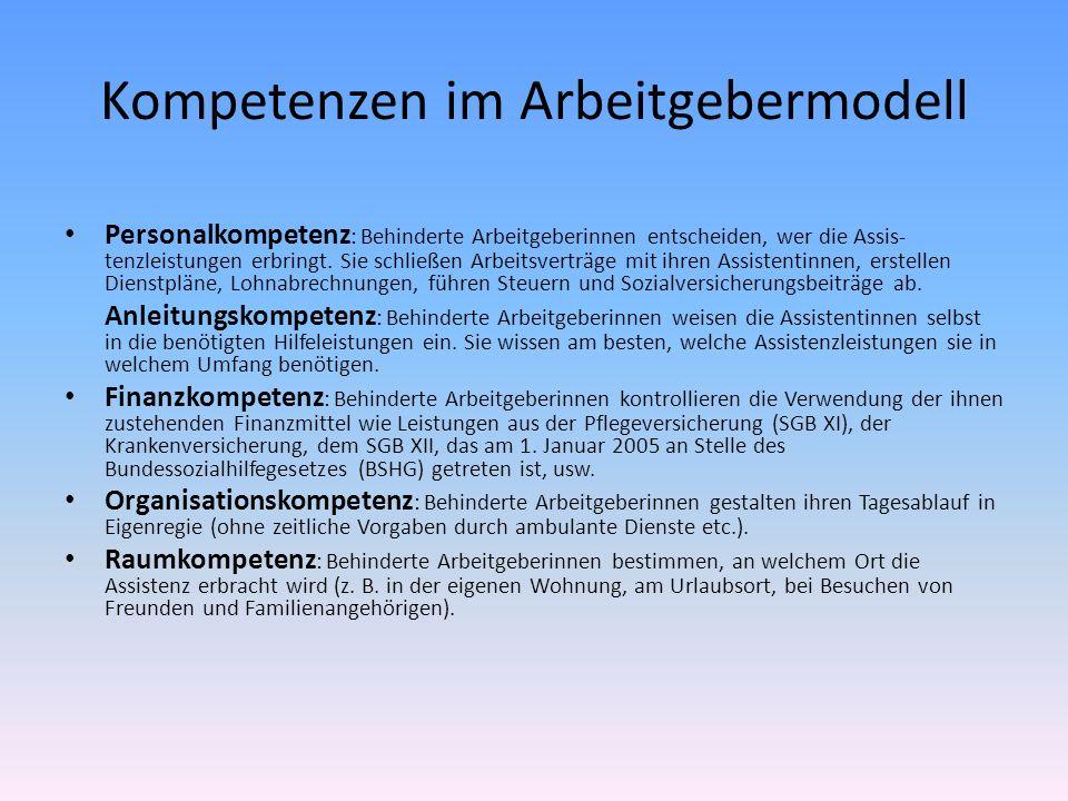 Kompetenzen im Arbeitgebermodell Personalkompetenz : Behinderte Arbeitgeberinnen entscheiden, wer die Assis- tenzleistungen erbringt. Sie schließen Ar