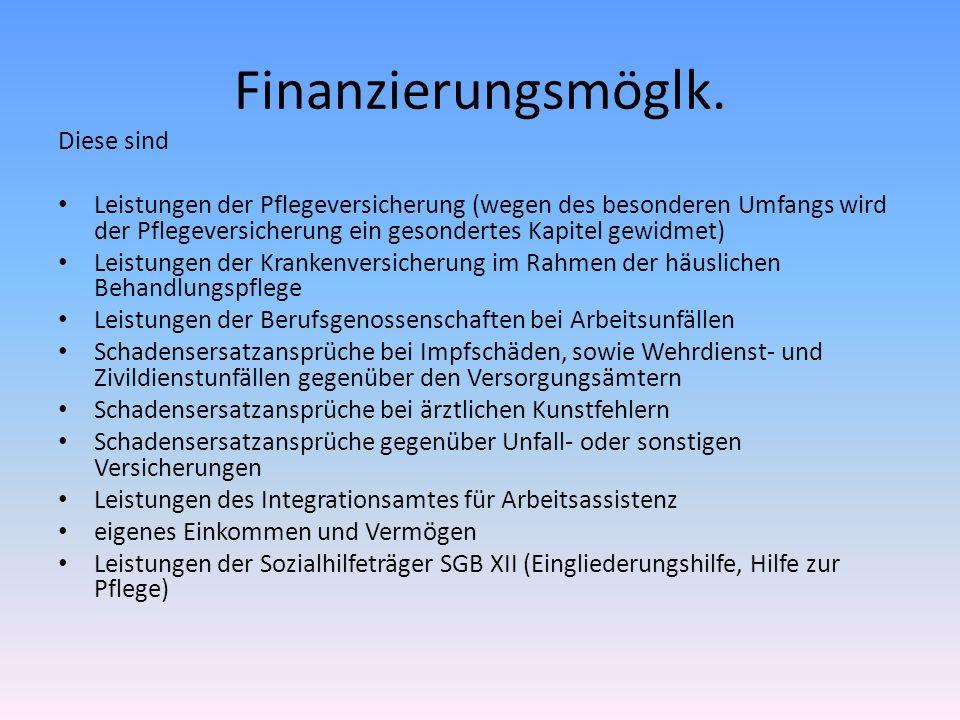 Finanzierungsmöglk. Diese sind Leistungen der Pflegeversicherung (wegen des besonderen Umfangs wird der Pflegeversicherung ein gesondertes Kapitel gew