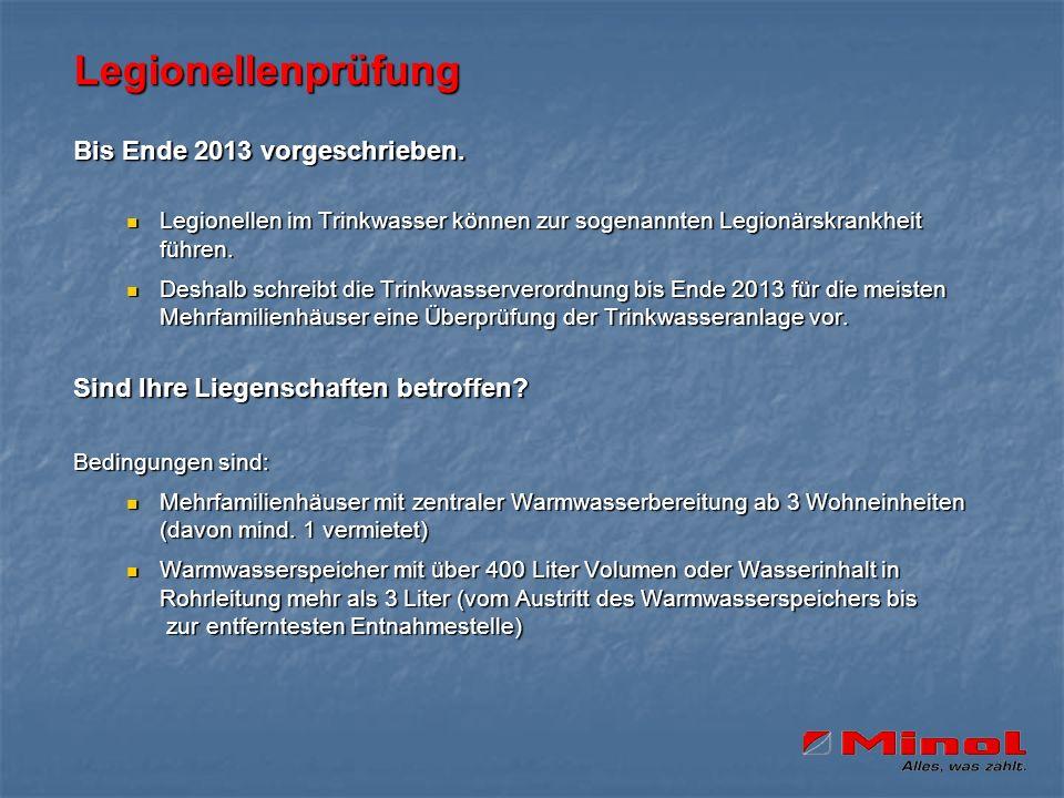 Legionellenprüfung Bis Ende 2013 vorgeschrieben. Legionellen im Trinkwasser können zur sogenannten Legionärskrankheit führen. Legionellen im Trinkwass