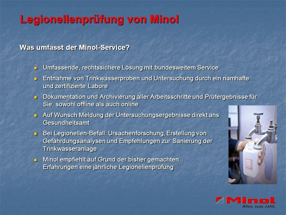 Legionellenprüfung von Minol Was umfasst der Minol-Service? Umfassende, rechtssichere Lösung mit bundesweitem Service Umfassende, rechtssichere Lösung