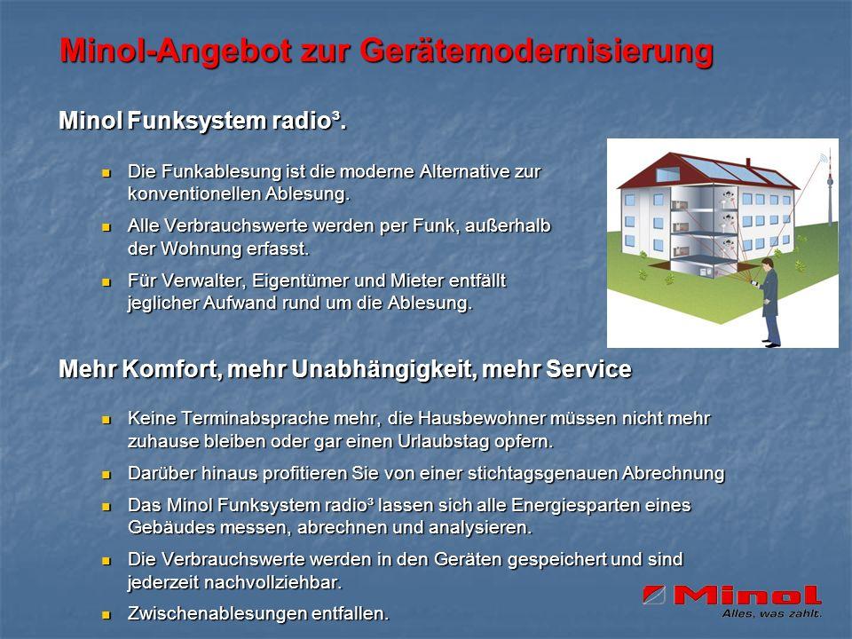 Minol-Angebot zur Gerätemodernisierung Minol Funksystem radio³. Die Funkablesung ist die moderne Alternative zur konventionellen Ablesung. Die Funkabl