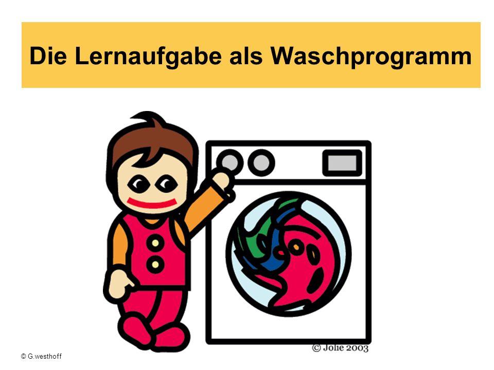 © G.westhoff Die Lernaufgabe als Waschprogramm