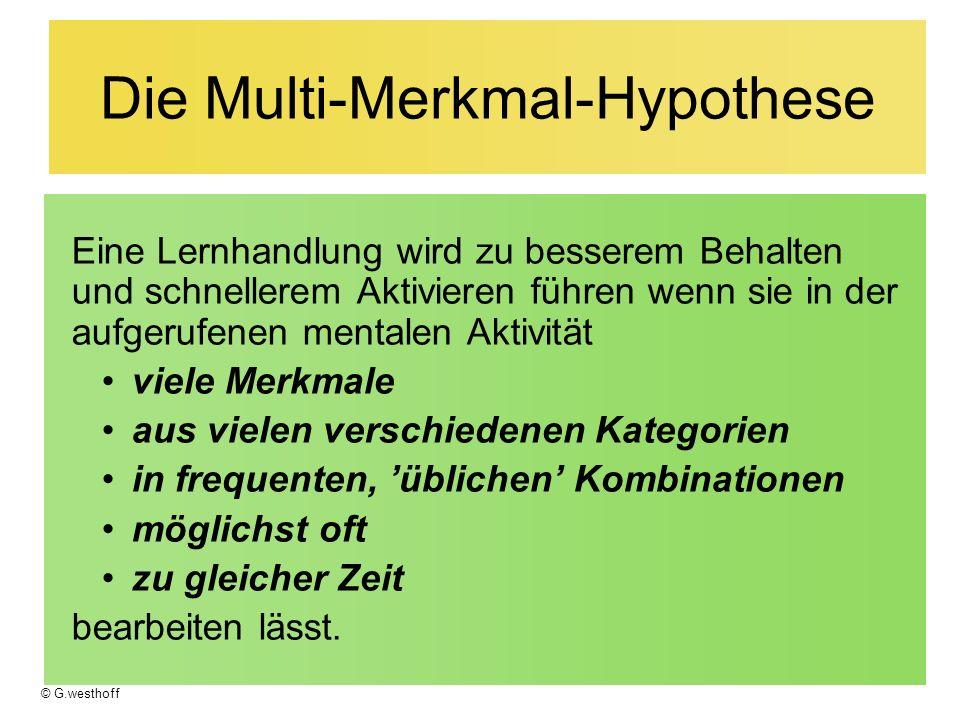 Die Multi-Merkmal-Hypothese Eine Lernhandlung wird zu besserem Behalten und schnellerem Aktivieren führen wenn sie in der aufgerufenen mentalen Aktivi