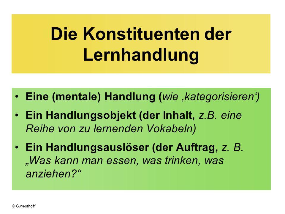 © G.westhoff Die Konstituenten der Lernhandlung Eine (mentale) Handlung (wie kategorisieren) Ein Handlungsobjekt (der Inhalt, z.B. eine Reihe von zu l