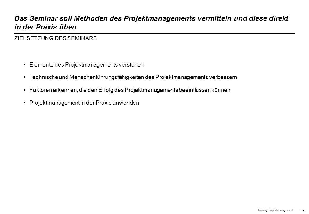 Training Projektmanagement -2--2- Elemente des Projektmanagements verstehen Technische und Menschenführungsfähigkeiten des Projektmanagements verbesse