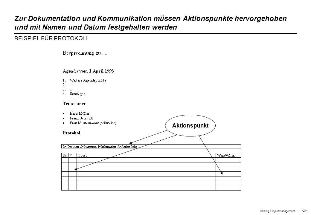 Training Projektmanagement - 27 - Zur Dokumentation und Kommunikation müssen Aktionspunkte hervorgehoben und mit Namen und Datum festgehalten werden B