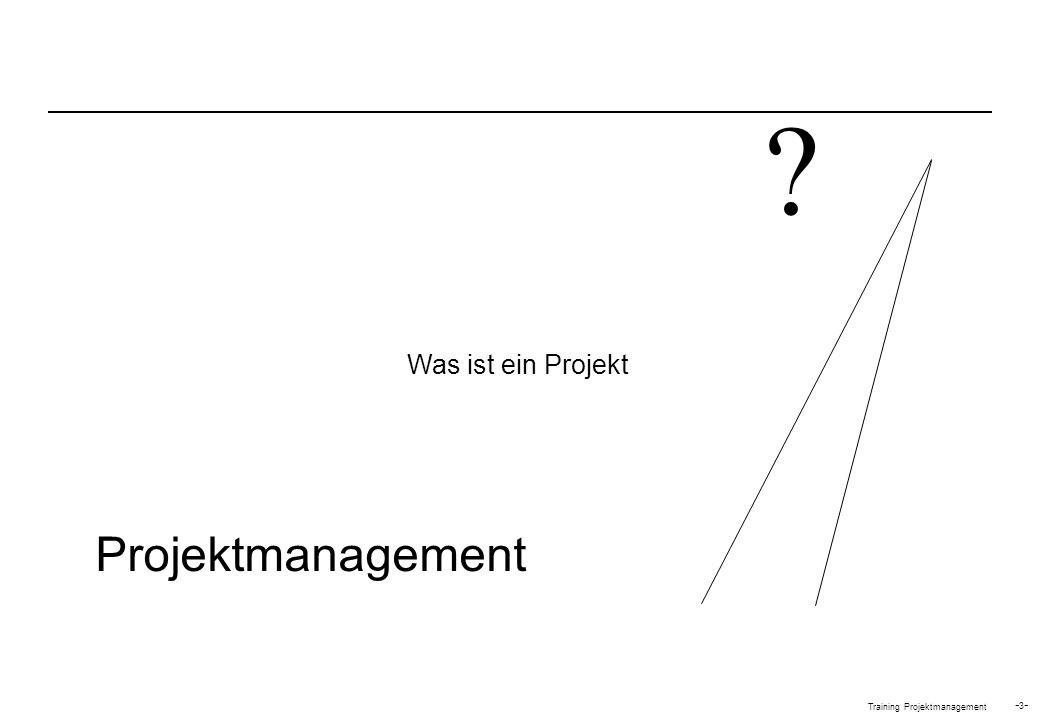 Training Projektmanagement -4--4- Ein Projekt ist eine einmalige Aktivität mit klarem Anfang und Ende sowie einem definierten Ziel DEFINITION EINES PROJEKTES Eine einmalige Aktivität Ein klarer Anfang Ein klares Ende Mit begrenzten Ressourcen Ein definiertes Ergebnis