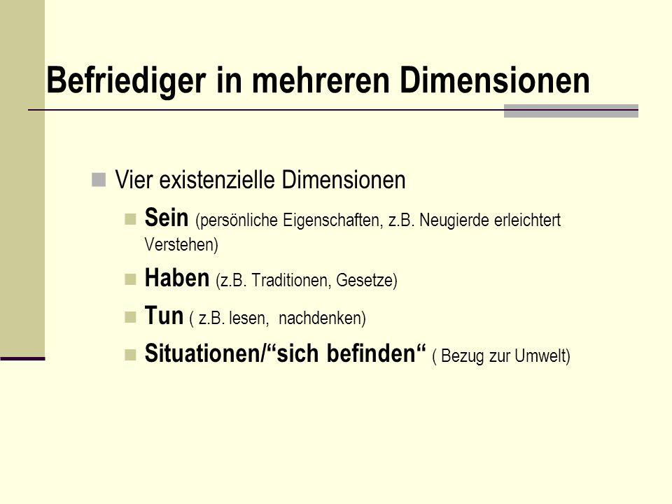Befriediger in mehreren Dimensionen Vier existenzielle Dimensionen Sein (persönliche Eigenschaften, z.B. Neugierde erleichtert Verstehen) Haben (z.B.