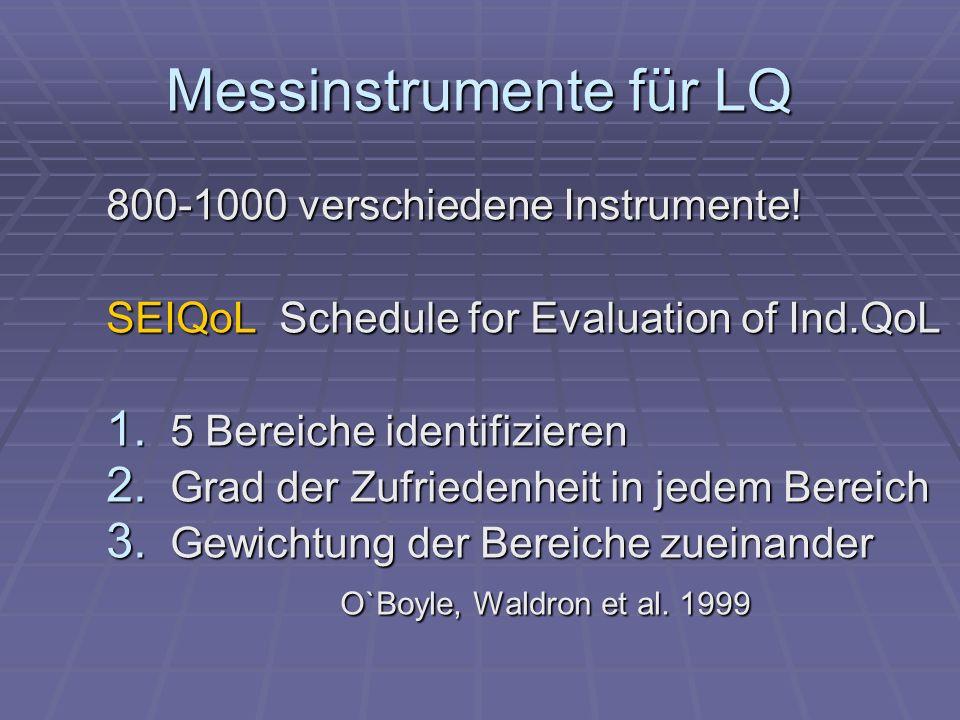 Messinstrumente für LQ 800-1000 verschiedene Instrumente! SEIQoL Schedule for Evaluation of Ind.QoL 1. 5 Bereiche identifizieren 2. Grad der Zufrieden