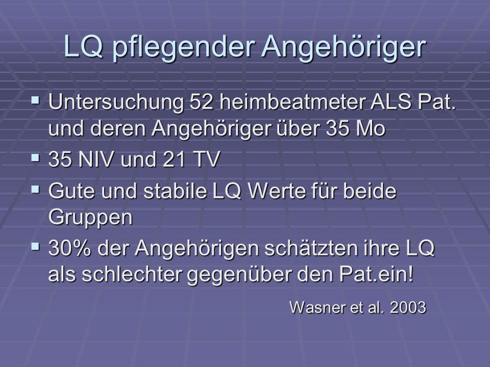LQ pflegender Angehöriger Untersuchung 52 heimbeatmeter ALS Pat. und deren Angehöriger über 35 Mo Untersuchung 52 heimbeatmeter ALS Pat. und deren Ang