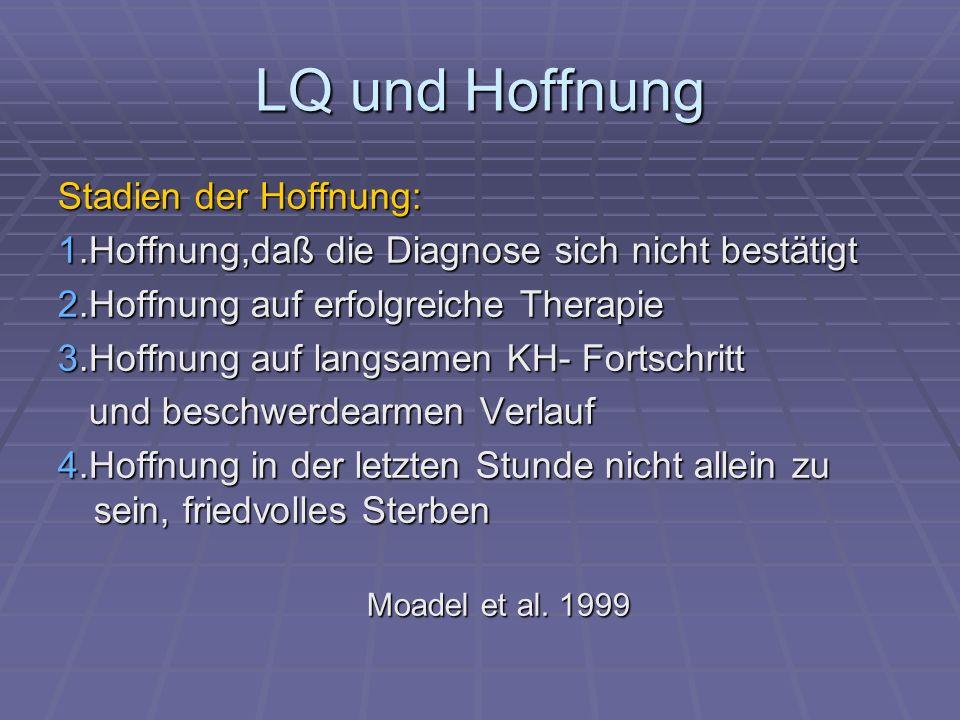 LQ und Hoffnung Stadien der Hoffnung: 1.Hoffnung,daß die Diagnose sich nicht bestätigt 2.Hoffnung auf erfolgreiche Therapie 3.Hoffnung auf langsamen K