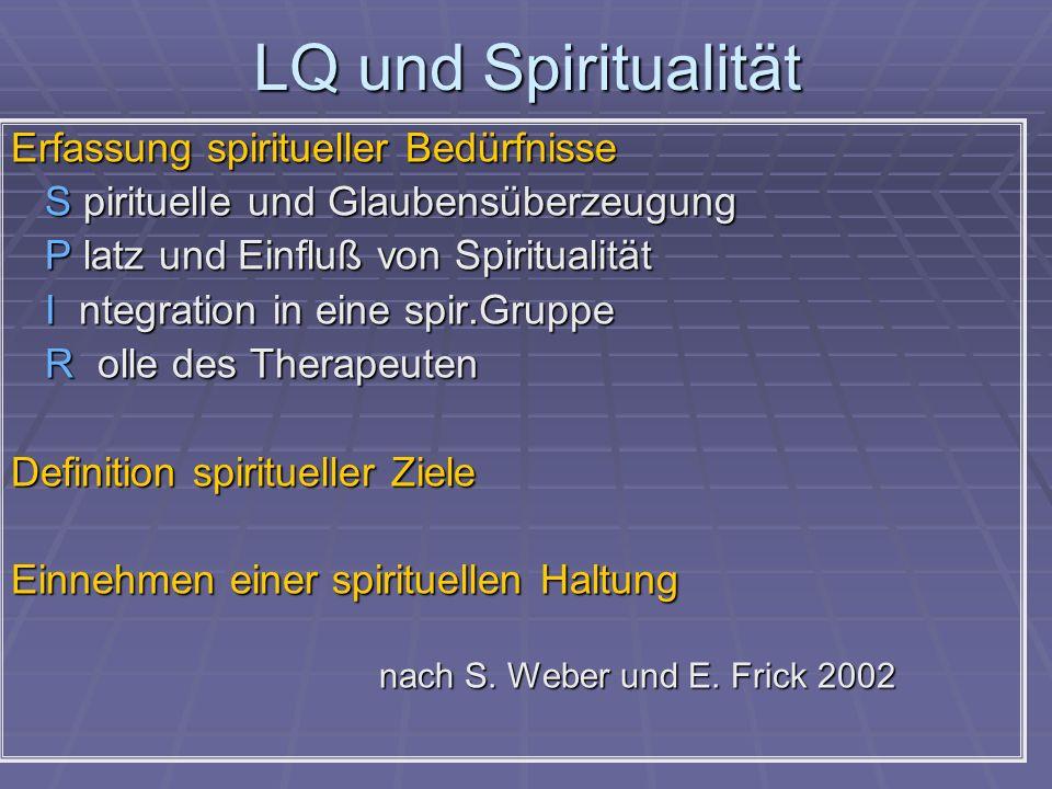LQ und Spiritualität Erfassung spiritueller Bedürfnisse S pirituelle und Glaubensüberzeugung S pirituelle und Glaubensüberzeugung P latz und Einfluß v