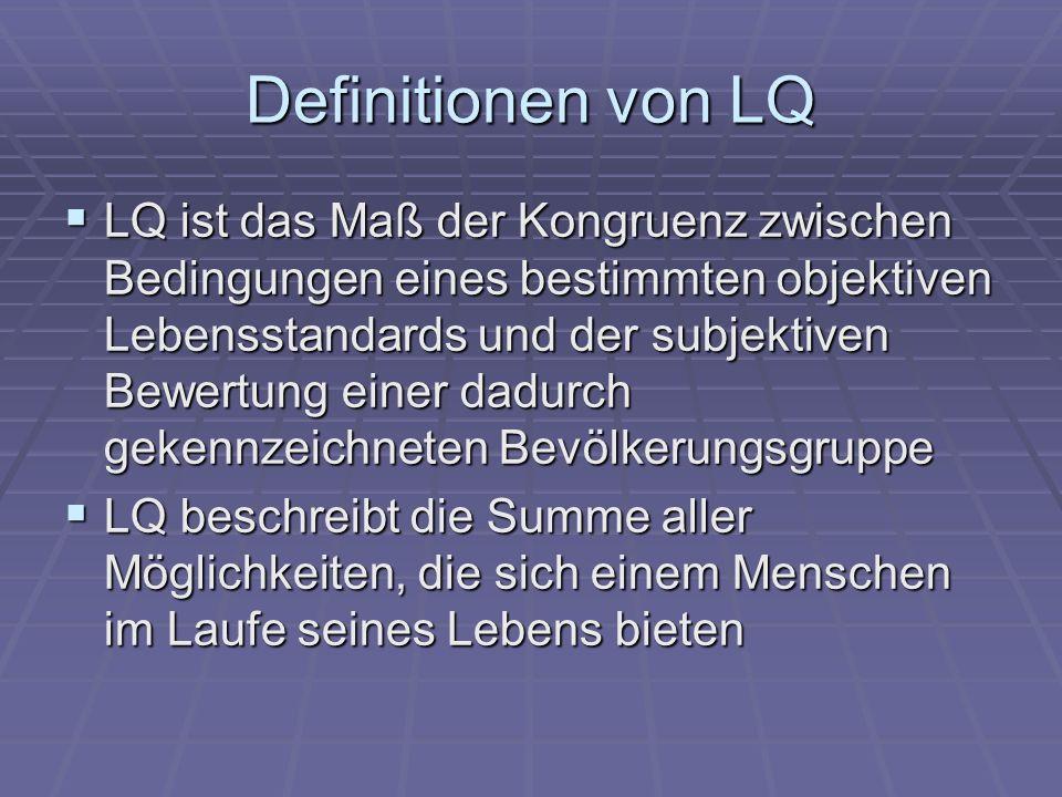 Definitionen von LQ LQ ist das Maß der Kongruenz zwischen Bedingungen eines bestimmten objektiven Lebensstandards und der subjektiven Bewertung einer