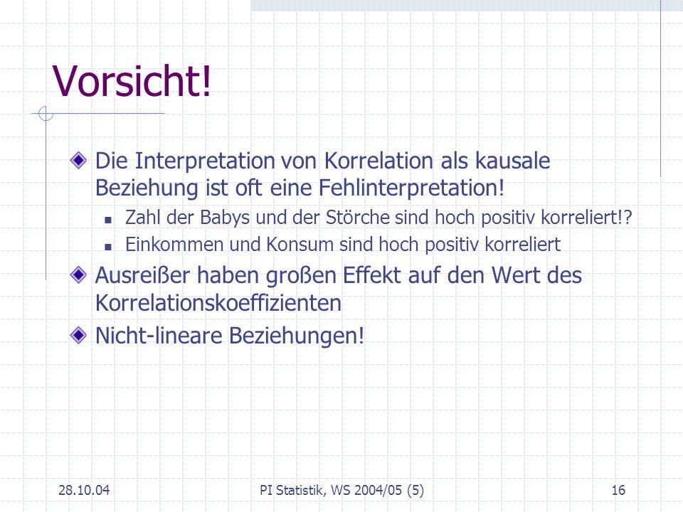 28.10.04PI Statistik, WS 2004/05 (5)16 Vorsicht! Die Interpretation von Korrelation als kausale Beziehung ist oft eine Fehlinterpretation! Zahl der Ba