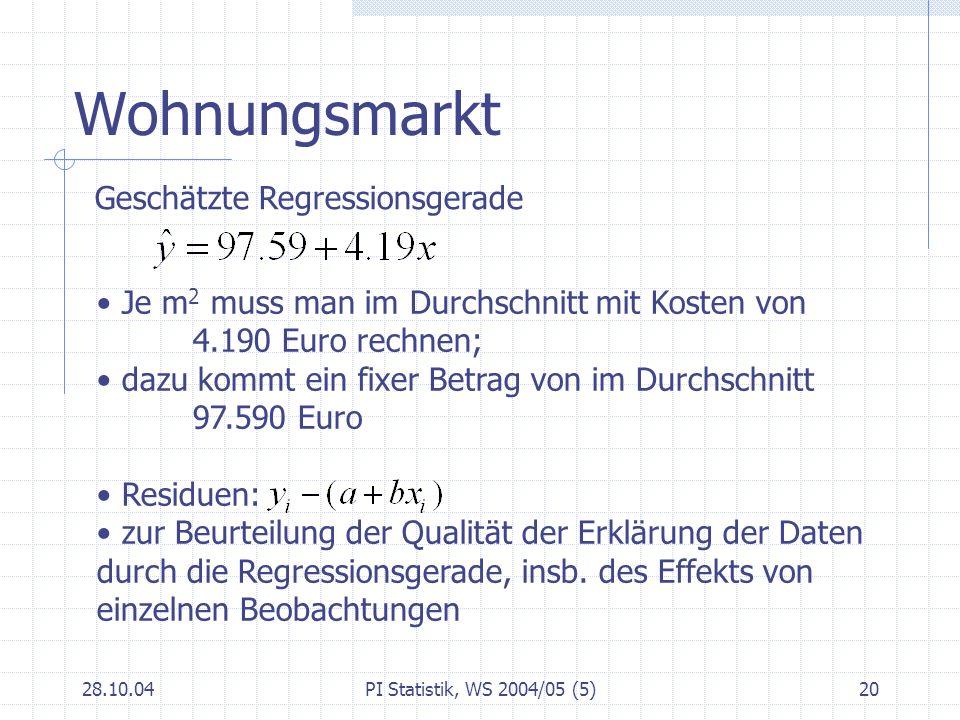 28.10.04PI Statistik, WS 2004/05 (5)21 Regression in EXCEL Analysefunktion Regression Statistische Funktionen RGP: liefert die Koeffizienten der linearen Regression SCHÄTZER: Liefert einen Y-Wert zu einem X-Wert nach Anpassen der linearen Regression Und andere