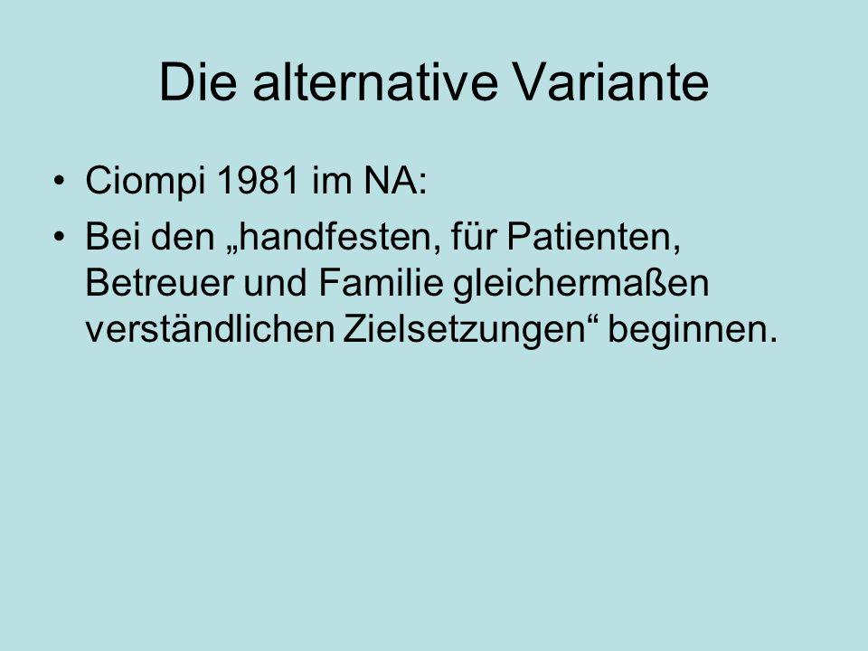 Die alternative Variante Ciompi 1981 im NA: Bei den handfesten, für Patienten, Betreuer und Familie gleichermaßen verständlichen Zielsetzungen beginnen.