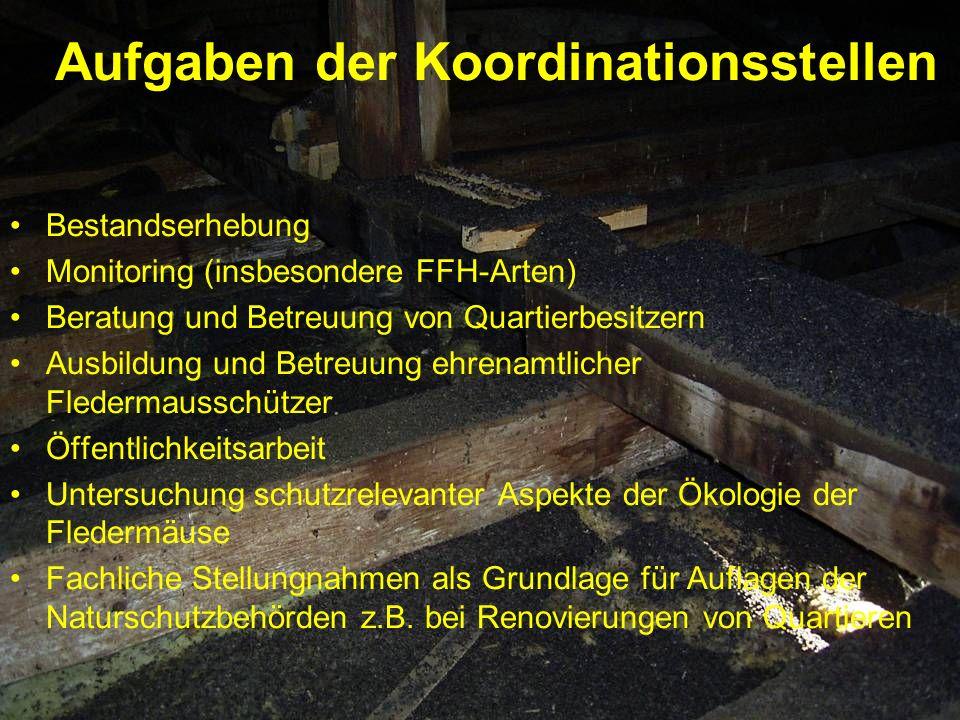 Aufgaben der Koordinationsstellen Bestandserhebung Monitoring (insbesondere FFH-Arten) Beratung und Betreuung von Quartierbesitzern Ausbildung und Bet