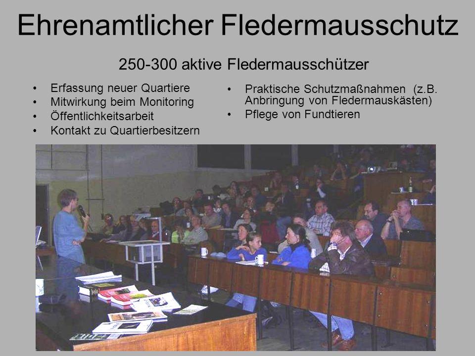 Ehrenamtlicher Fledermausschutz 250-300 aktive Fledermausschützer Erfassung neuer Quartiere Mitwirkung beim Monitoring Öffentlichkeitsarbeit Kontakt z