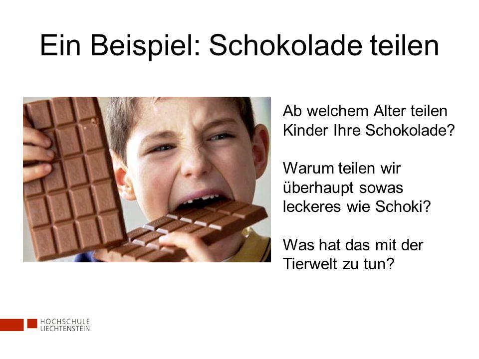 Ein Beispiel: Schokolade teilen Ab welchem Alter teilen Kinder Ihre Schokolade? Warum teilen wir überhaupt sowas leckeres wie Schoki? Was hat das mit