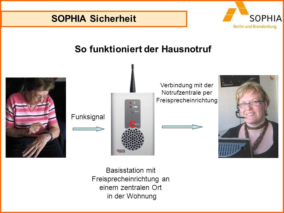 SOPHIA Sicherheit So funktioniert der Hausnotruf Funksignal Basisstation mit Freisprecheinrichtung an einem zentralen Ort in der Wohnung Verbindung mi