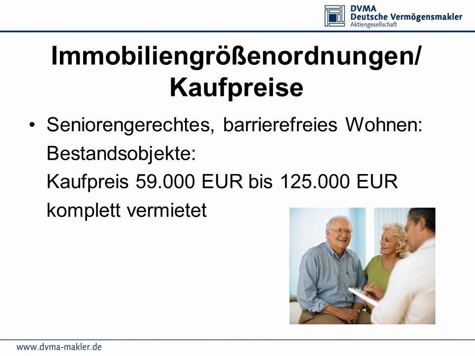 Immobiliengrößenordnungen/ Kaufpreise Seniorengerechtes, barrierefreies Wohnen: Bestandsobjekte: Kaufpreis 59.000 EUR bis 125.000 EUR komplett vermiet