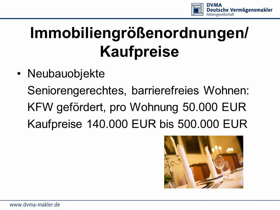 Immobiliengrößenordnungen/ Kaufpreise Neubauobjekte Seniorengerechtes, barrierefreies Wohnen: KFW gefördert, pro Wohnung 50.000 EUR Kaufpreise 140.000 EUR bis 500.000 EUR