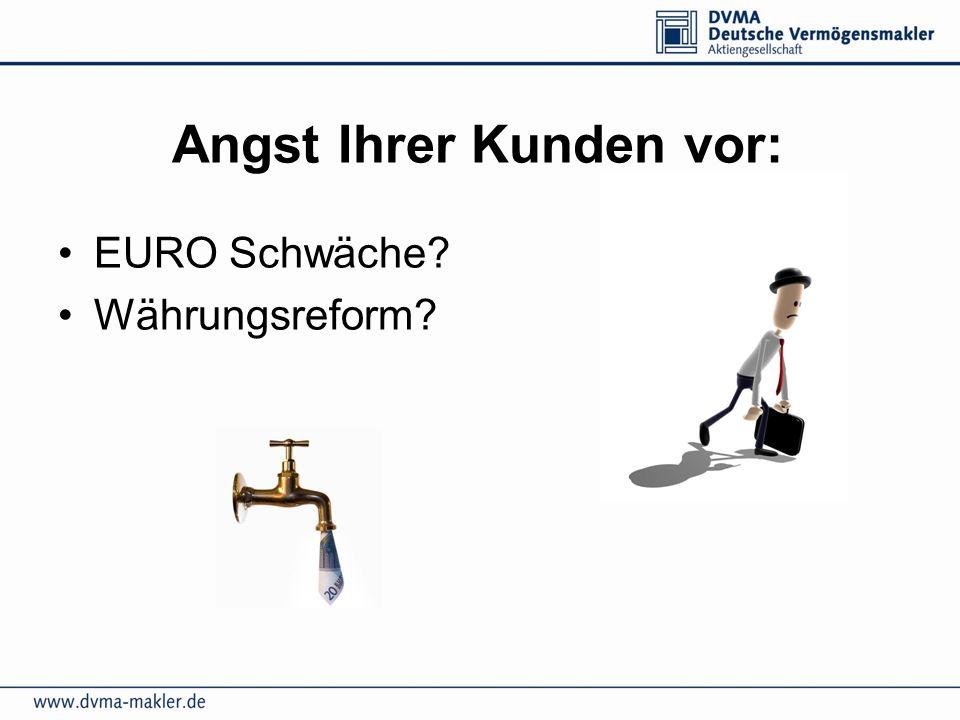 Angst Ihrer Kunden vor: EURO Schwäche? Währungsreform?