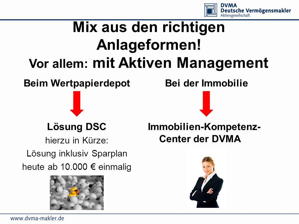 Mix aus den richtigen Anlageformen! Vor allem: mit Aktiven Management Beim Wertpapierdepot Lösung DSC hierzu in Kürze: Lösung inklusiv Sparplan heute