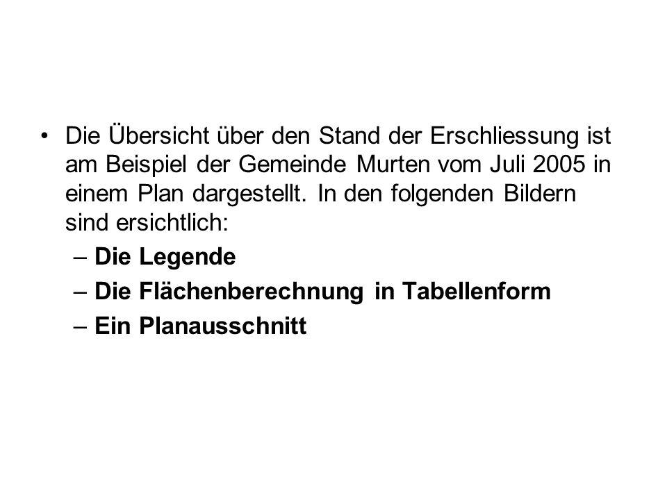 Die Übersicht über den Stand der Erschliessung ist am Beispiel der Gemeinde Murten vom Juli 2005 in einem Plan dargestellt. In den folgenden Bildern s
