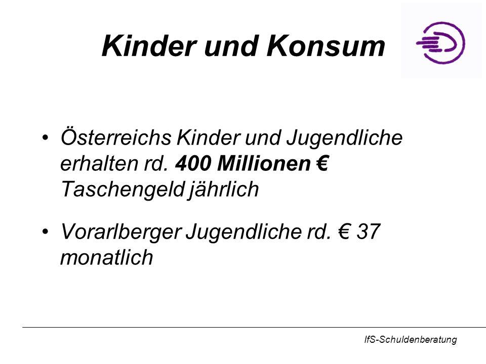 IfS-Schuldenberatung Kinder und Konsum Österreichs Kinder und Jugendliche erhalten rd. 400 Millionen Taschengeld jährlich Vorarlberger Jugendliche rd.