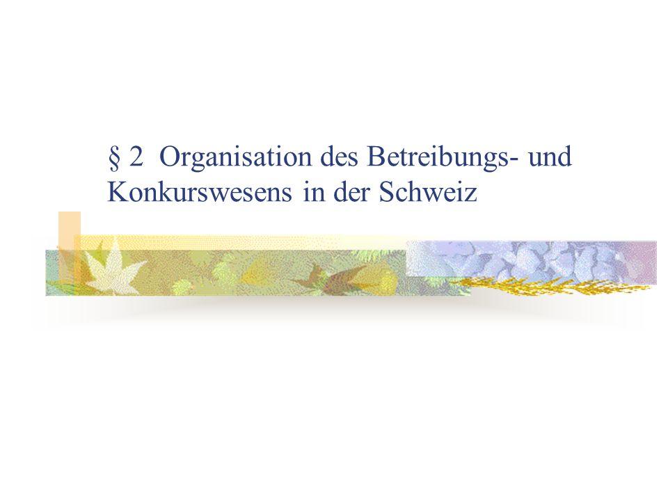 § 2 Organisation des Betreibungs- und Konkurswesens in der Schweiz