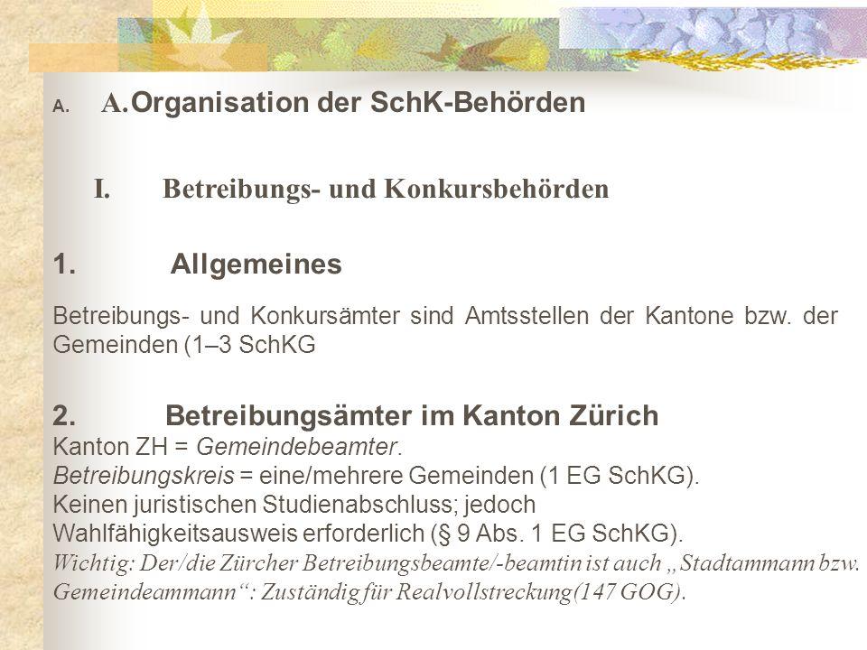 A. A. Organisation der SchK-Behörden I. Betreibungs- und Konkursbehörden 1.
