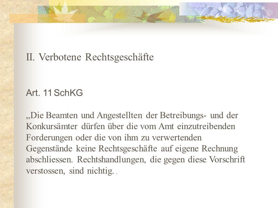 II. Verbotene Rechtsgeschäfte Art.