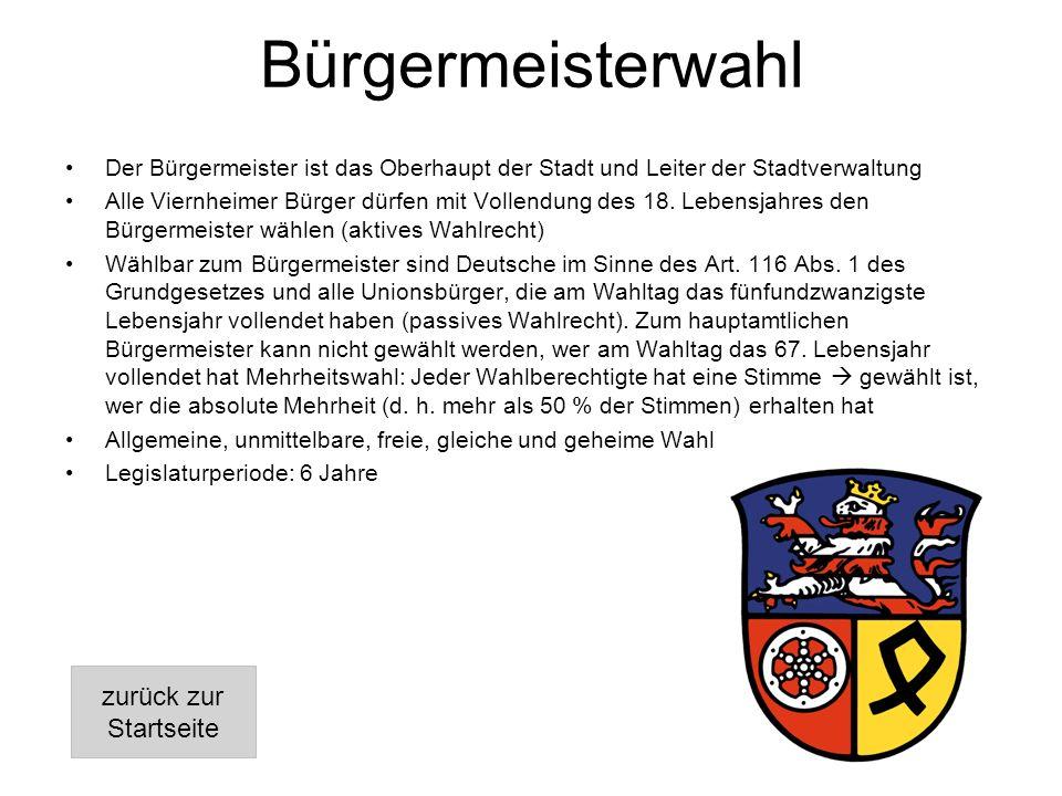 Bürgermeisterwahl Der Bürgermeister ist das Oberhaupt der Stadt und Leiter der Stadtverwaltung Alle Viernheimer Bürger dürfen mit Vollendung des 18.