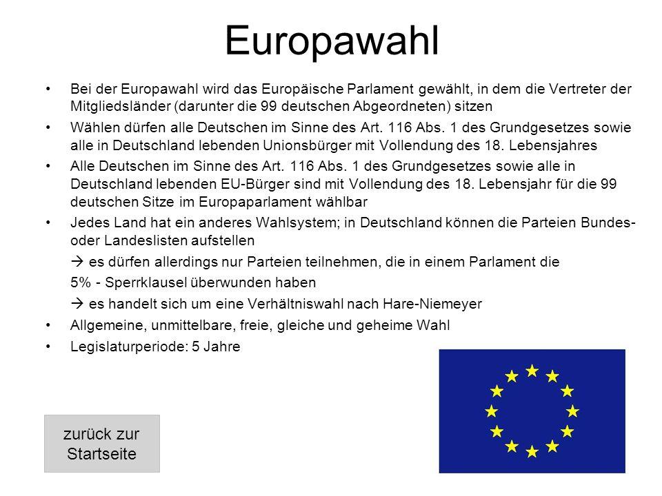 Europawahl Bei der Europawahl wird das Europäische Parlament gewählt, in dem die Vertreter der Mitgliedsländer (darunter die 99 deutschen Abgeordneten) sitzen Wählen dürfen alle Deutschen im Sinne des Art.